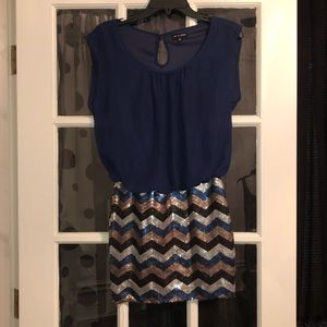 As U Wish Small Navy/Silver/Gold party dress